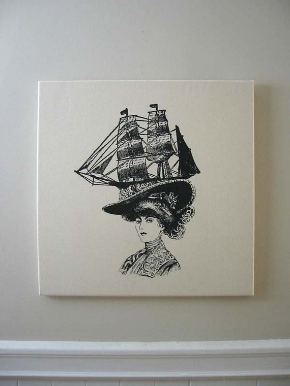 Lady with Ship Hat silk screened canvas wall hanging 18x18 inches black