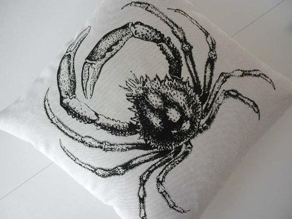 SALE Vintage Spider Crab silk screened canvas throw pillow 18 inch black