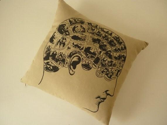 Vintage Phrenology silk screen cotton canvas throw pillow 18 inch sand