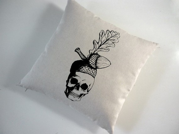 Skull with Acorn Hat silkscreened cotton canvas throw pillow 18 inch square