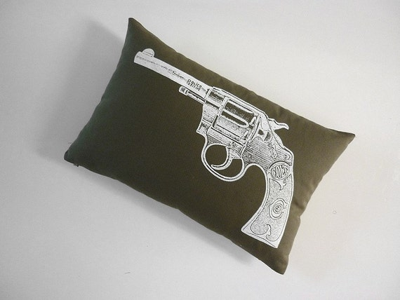 Vintage Colt Revolver silk screened cotton canvas throw pillow 12x18 inch moss white