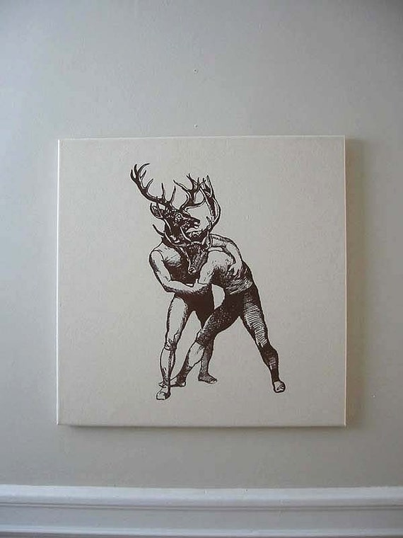 Brawling Bucks Wall Hanging 18x18 brown on natural canvas