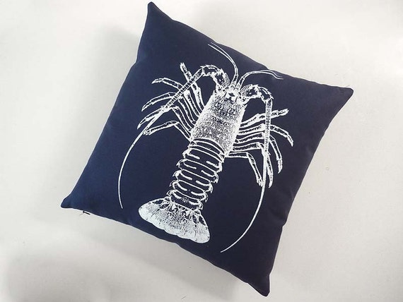 Spiny Lobster silk screened cotton canvas throw pillow 18 inch navy blue white