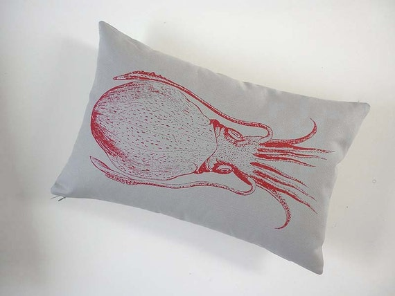Cuttlefish silk screened cotton canvas throw pillow 12x18 red on gray