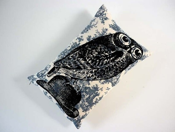 Owl on Bowler Hat silk screened throw pillow 18x12 black on blue cotton toile