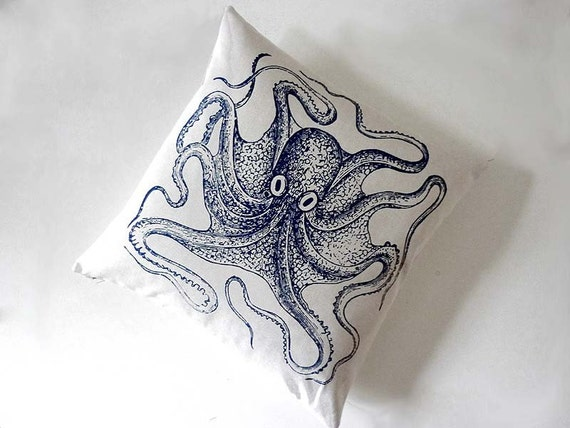 Growing heart silk screened cotton canvas throw pillow 18 inch navy