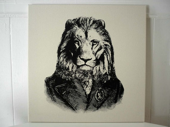 Lion hand silk screened wall hanging pillow 18x18