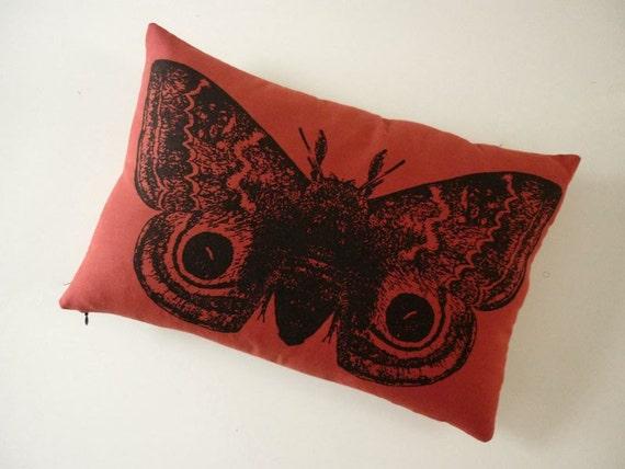GIant IO Moth silk screened cotton canvas throw pillow RED 18x12