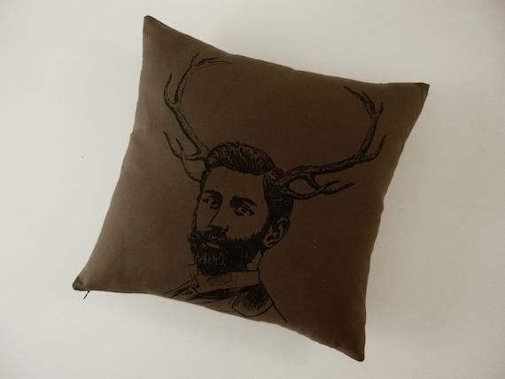 Handsome Deer Buck silk screened cotton canvas throw pillow 18 inch black on dark brown