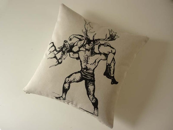 Deer Buck Brawling no.2 silk screened cotton canvas throw pillow 18 inch black