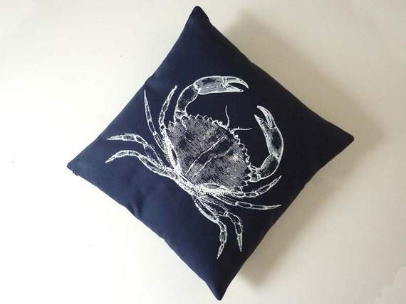 Vintage Crab silk screened cotton canvas throw pillow 18 inch white on navy