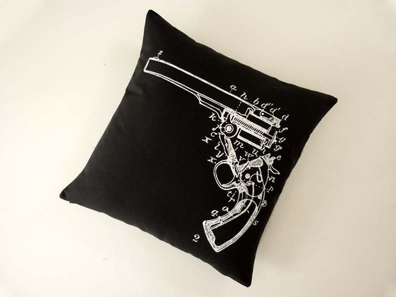 Gun Diagram silk screened cotton canvas throw pillow 18 inch white black