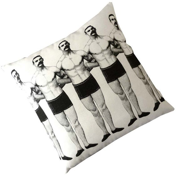 As seen in Elle Decor Magazine,  Man Chain silk screened cotton canvas throw pillow 18 inch black on ivory