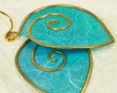 Paper spiral earrings in bright aqua