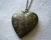 Brass Floral Heart Locket Long Necklace