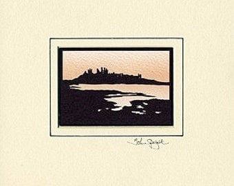 Dunstanburgh Castle (UK) Hand-Cut Papercut