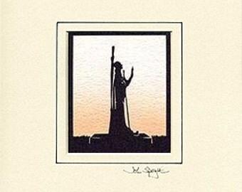 St. Aidan (Statue on Lindisfarne UK) Hand-Cut Papercut