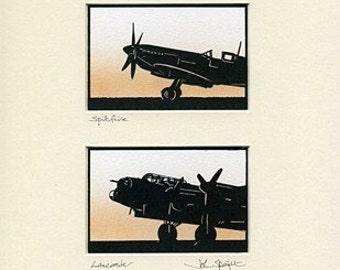 Spitfire & Lancaster Hand-Cut Papercuts (pair)