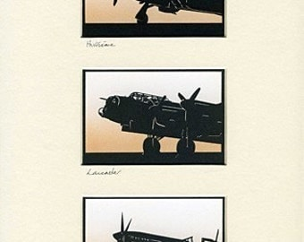 Hurricane, Lancaster & Spitfire (Memorial Flight) Hand-Cut Papercuts (triple)