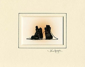 Walking Boots Hand-Cut Papercut