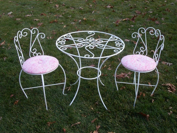 items similar to children 39 s tea party table and chairs set on etsy. Black Bedroom Furniture Sets. Home Design Ideas