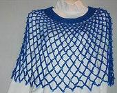 Blue Beaded Crocheted Poncho