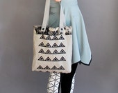 Reserved for ChristineDu SALE MING - Hand Dyed Tringle Silk Screen Printed Tote