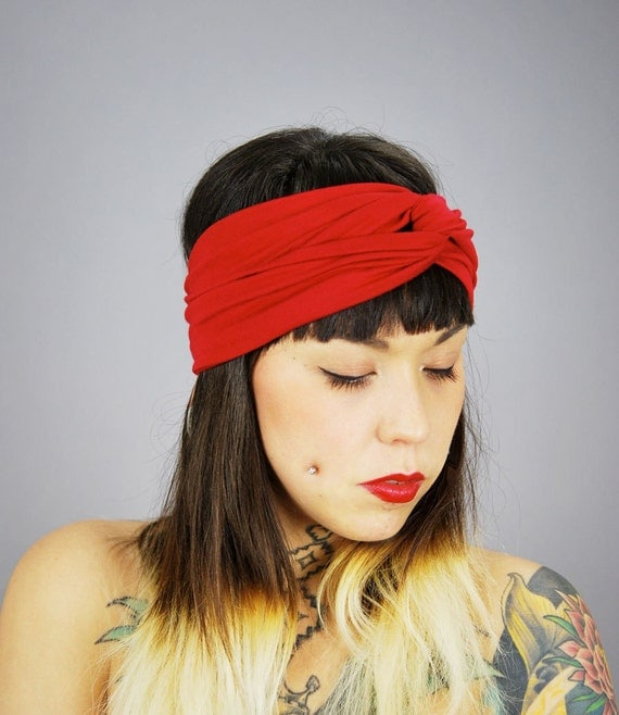 SALE Holiday Red is Red Rayon Turban Twist HeadBand Head Wrap