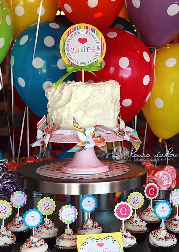 INTRO SALE - 40 PERCENT OFF - PRINTABLE LOLLIPOP BIRTHDAY PARTY PACKAGE - FULL COLLECTION - The TomKat Studio
