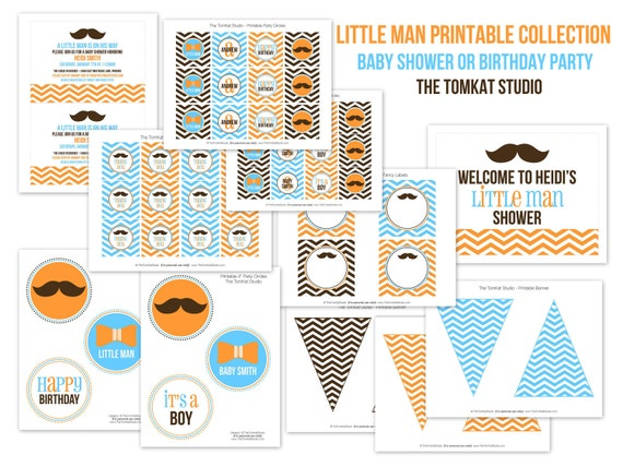 little man printable party collection baby shower or birthday party