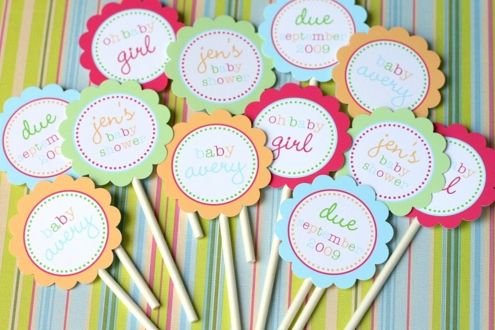 Baby Shower Cupcake Topper Ideas : PRINTABLE Bright Baby Cupcake Toppers for Baby by tomkatstudio