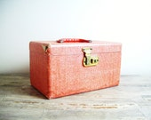 red gingham train case