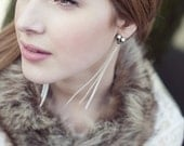 recycled vintage pearl and rhinestone feather earrings
