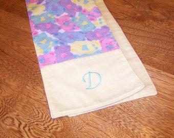"""Teddy Bears Burp Cloth Trio Monogrammed """"D"""""""