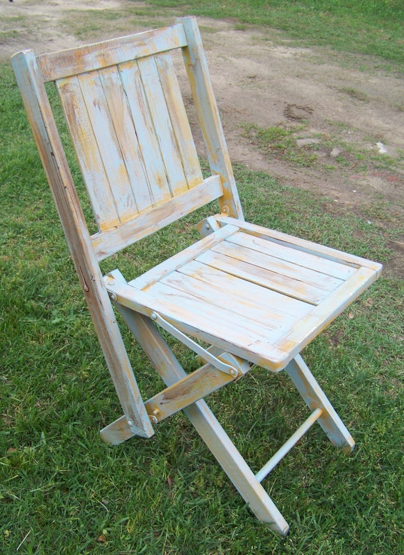 Vintage Folding Sunday School Wooden Deck Beachy Chair