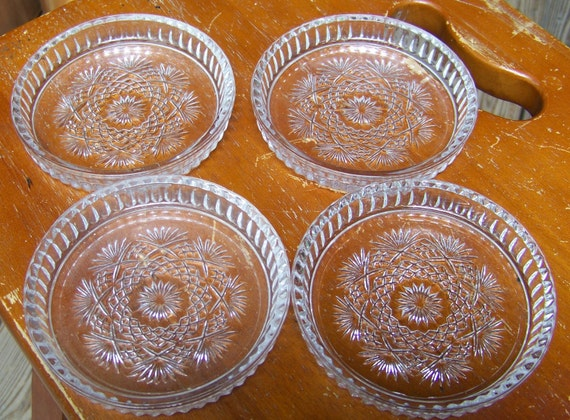 Mid Century Fancy Glass Coasters