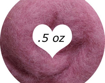 Dream Felt Premium Wool Batt Norwegian C1 Needle Felt Dusty Rose .5 oz.