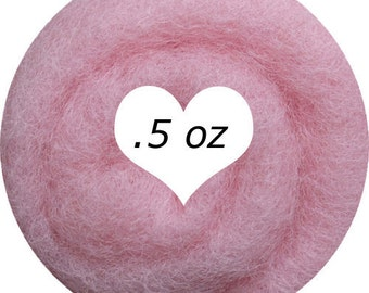Dream Felt Premium Wool Batt Norwegian C1 Needle Felt Pale Pink  .5 oz.