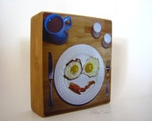 Coffee and a Smile 4x4.5 photo mounted on wooden block
