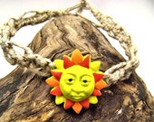 Yellow, Orange, and Red Fimo Clay Sunshine on Natural Hemp Necklace - SALE - Was 22.50