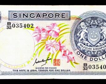 """SINGAPORE 1 One Dollar  """"P1B"""" 1970 Seal Type 1"""