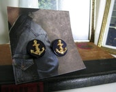 Repurposed Button Earrings with Anchors