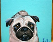 "Contemporary Custom Dog Portrait  Acrylic 9"" x 9"" and 2 1/2"" deep"