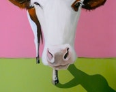"Large CONTEMPORARY Brown and White Cow Painting entitled""LILLY-ANNE"" Original Acrylic"