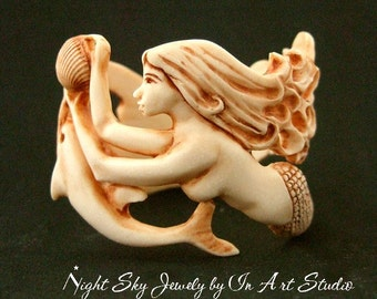 Dolphin with Mermaid Bracelet in Antique Ivory Resin Sculpted Mermaid Jewelry