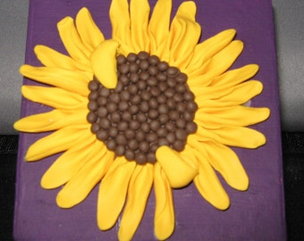 polymer clay sunflower treasure box
