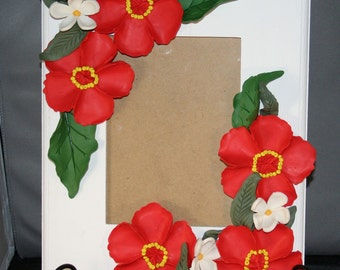 polymer clay poppy picture frame