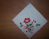 Candy Cane and Poinsettia Hankie -1350