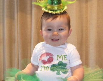 Funny Baby Bodysuit Kiss Me I'm Irish St. Pattys Day Infant Tee by Mumsy Goose Newborn to Toddler Tshirts