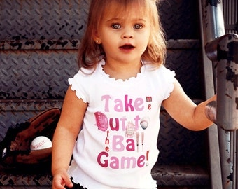 Girl Baseball Tshirt Take me out to the ballgame by Mumsy Goose spring  girly tee Up to Youth Shirts